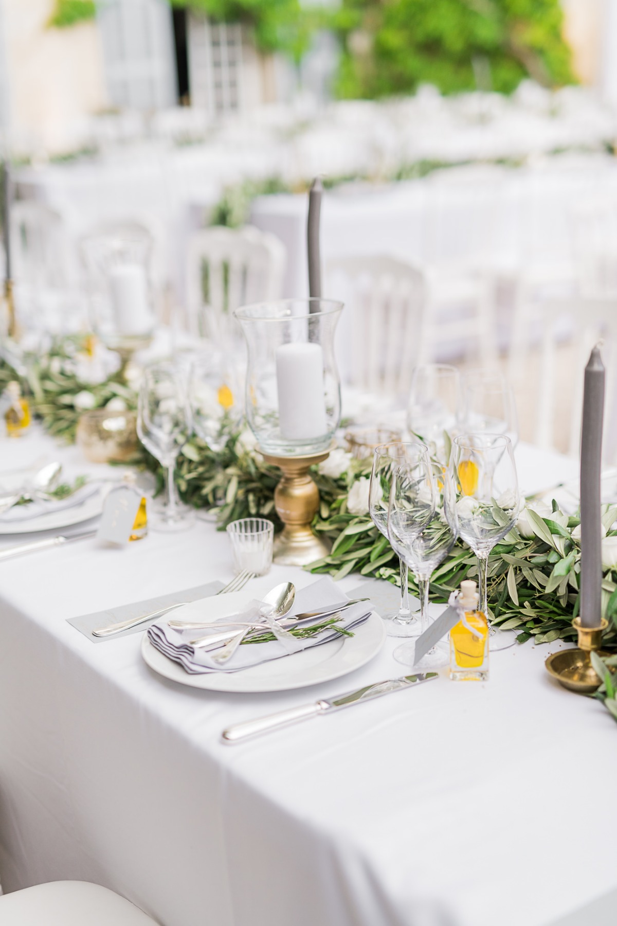 Greenery and white reception table