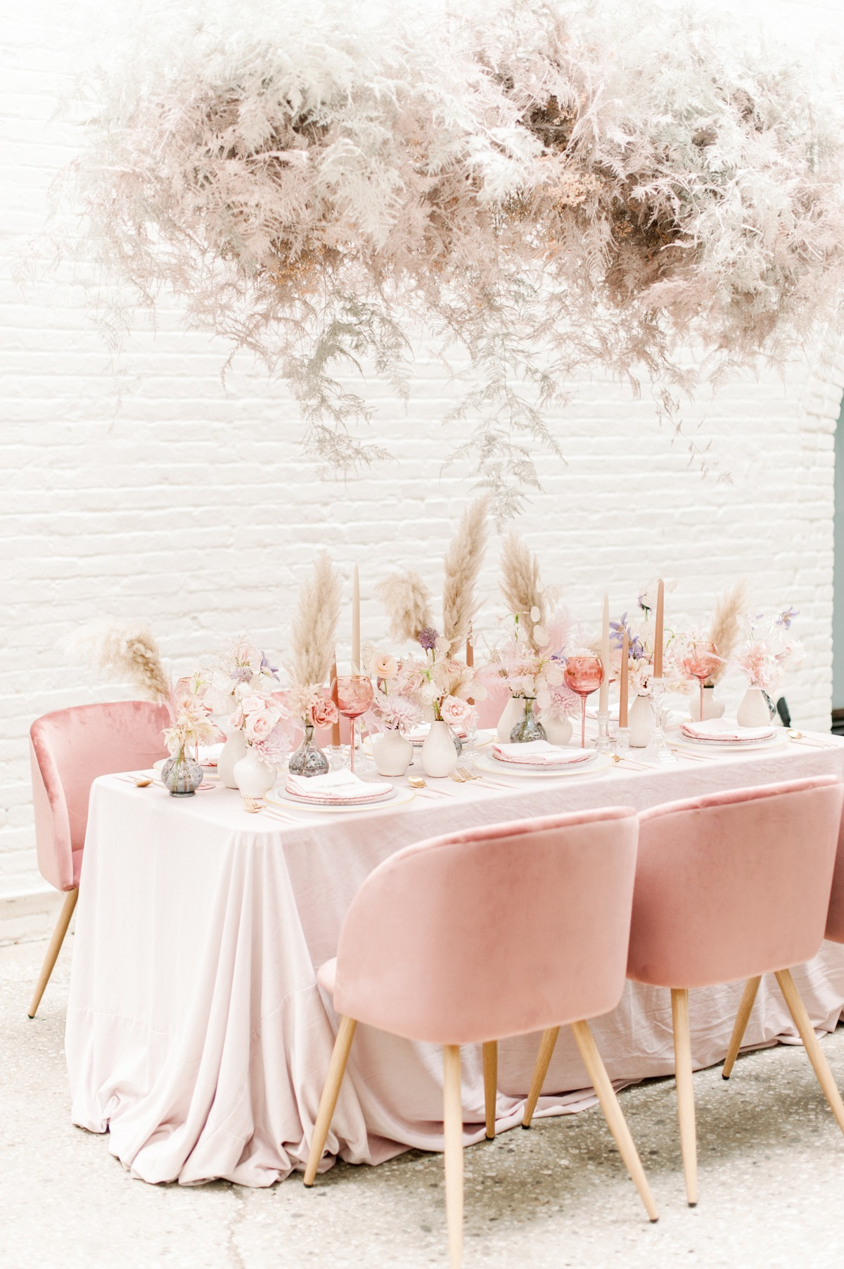 Modern chic blush wedding decor