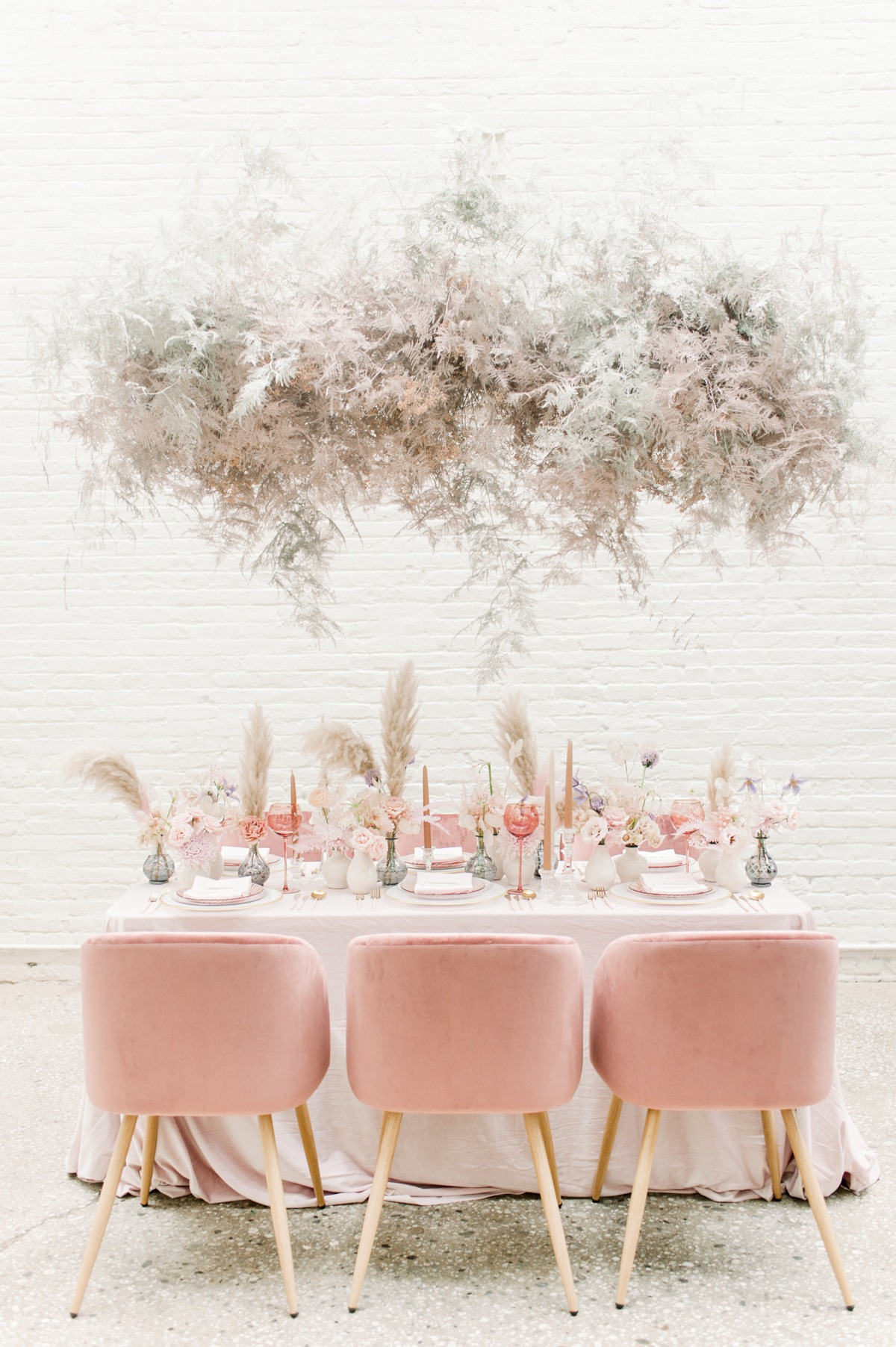 Blush modern wedding decor