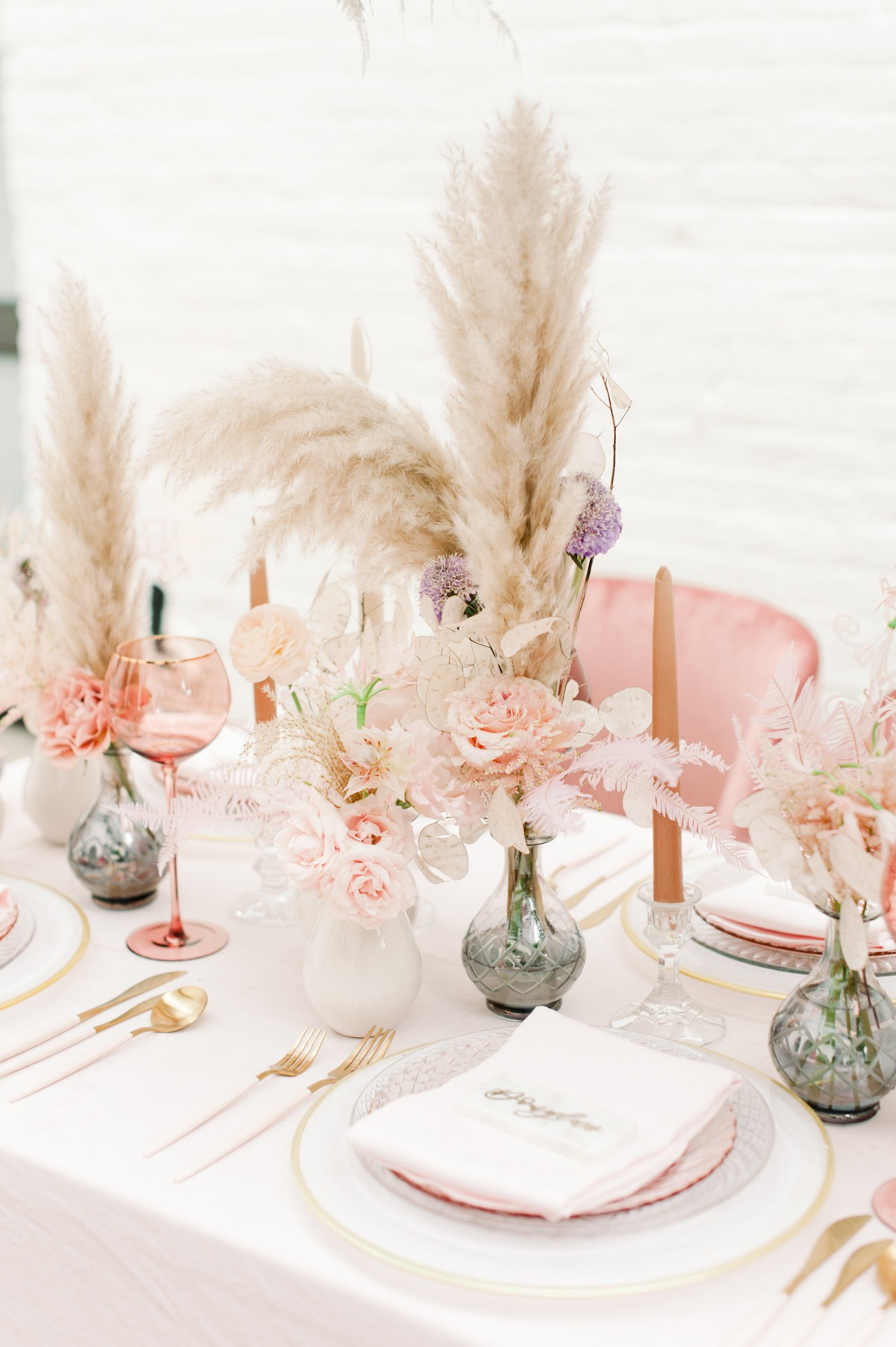 Pampas grass wedding centerpiece