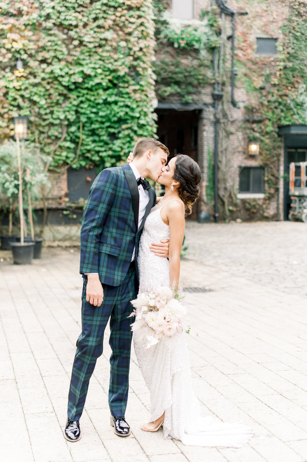 Plaid suit for the groom