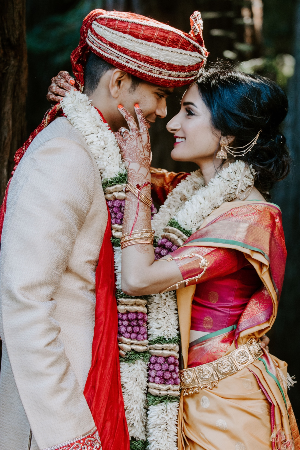 Hindu wedding in the redwood forest