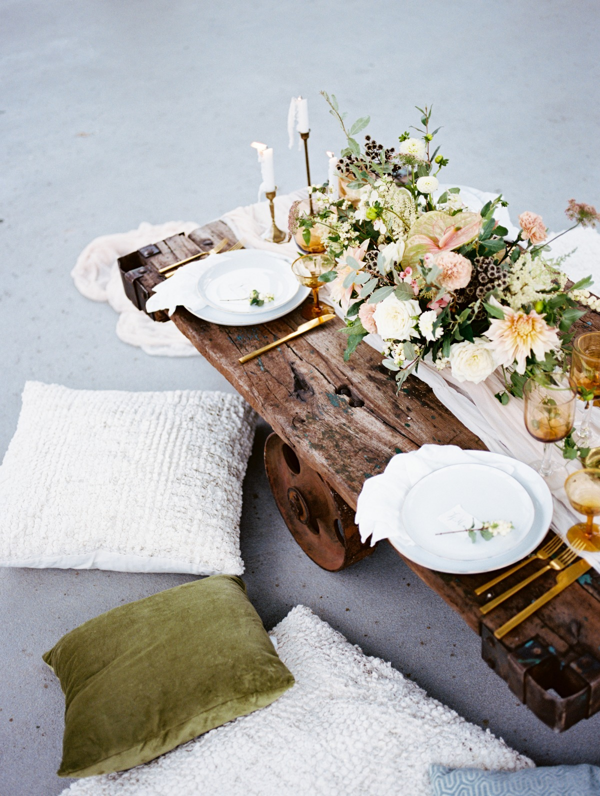 Antique tablescape for a wedding