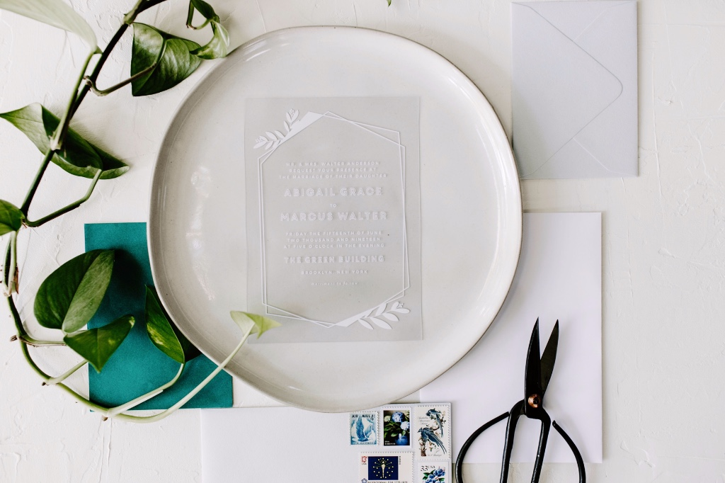 Our Modern Flora Clear Wedding Invitation is perfect for the modern bride!