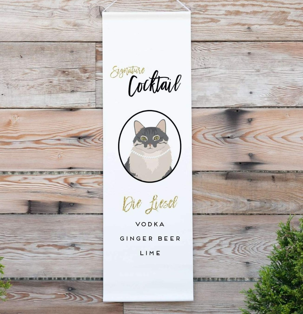If you want a unique way to display your signature drinks, this Personalized Signature Drink Wedding Banner with Pet Portraits is the
