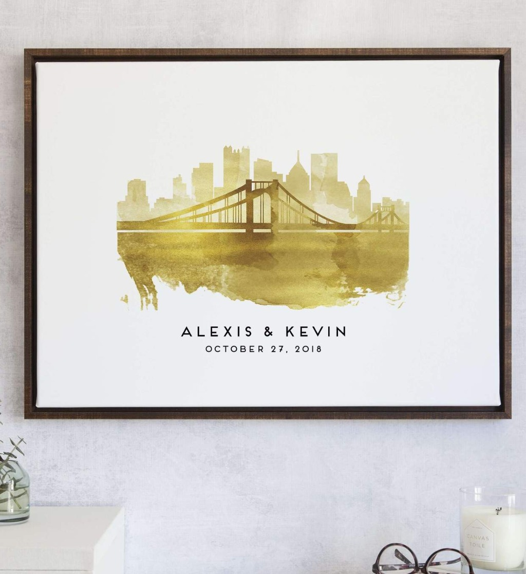 This Watercolor Skylines Guest Book Alternative with Custom Skyline from Miss Design Berry features the skylines that mean the most