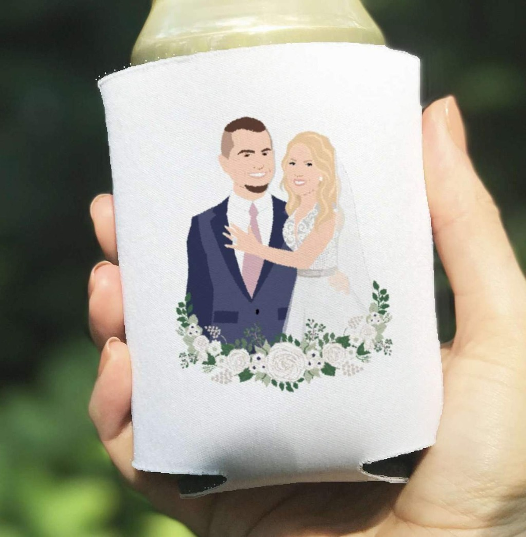 We love a little fun at weddings, and these super cute Custom Portrait Wedding Coozies as favors will really get the party started