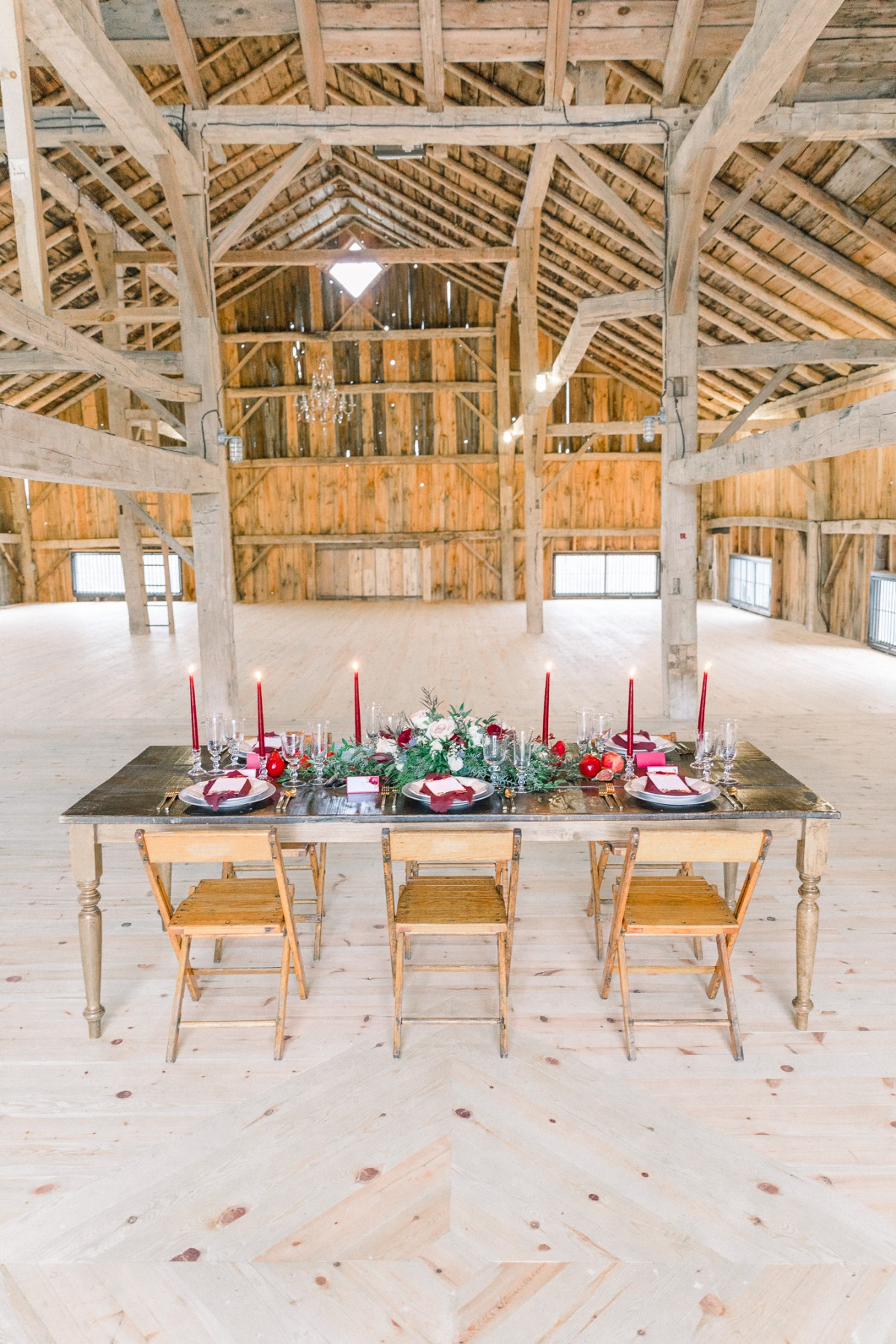 Rustic winter wedding tablescape