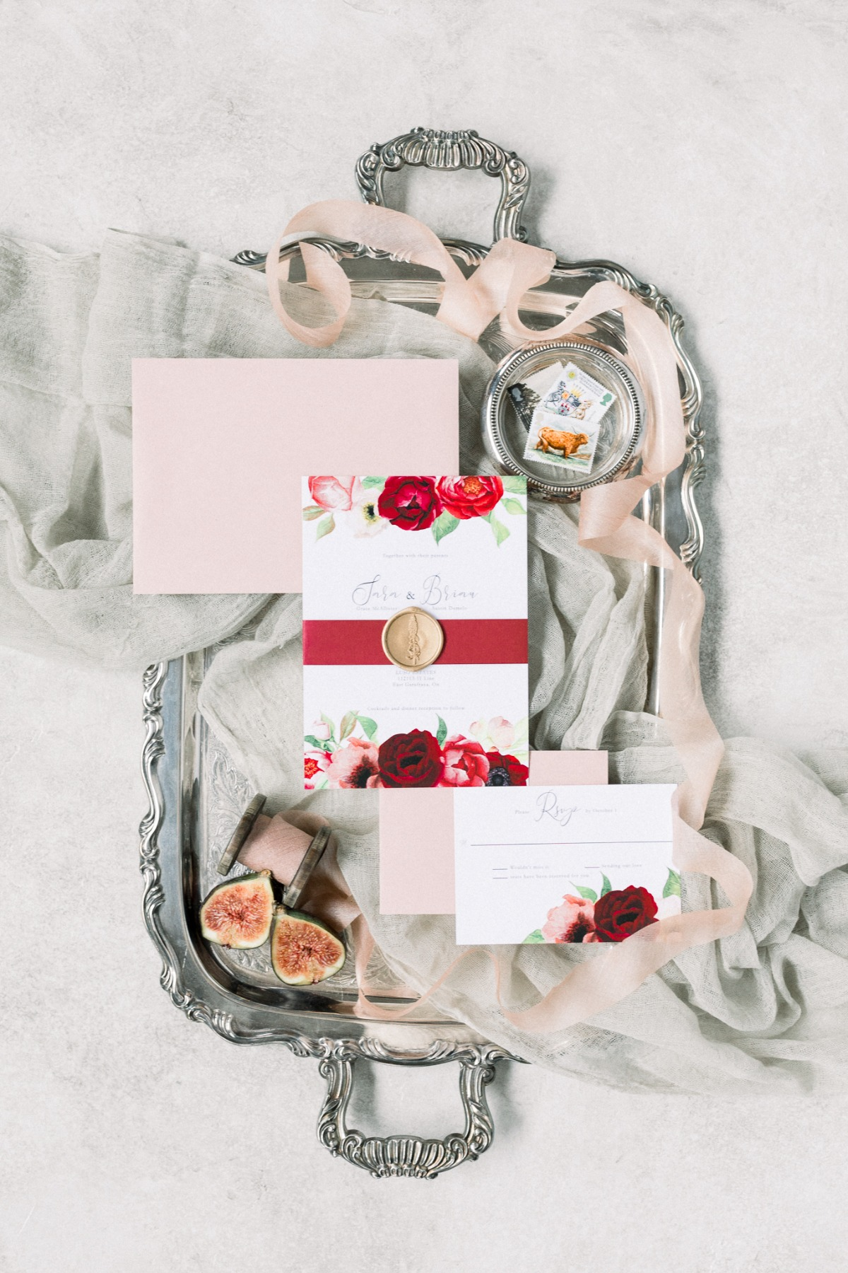 Red and blush wedding invitation suite