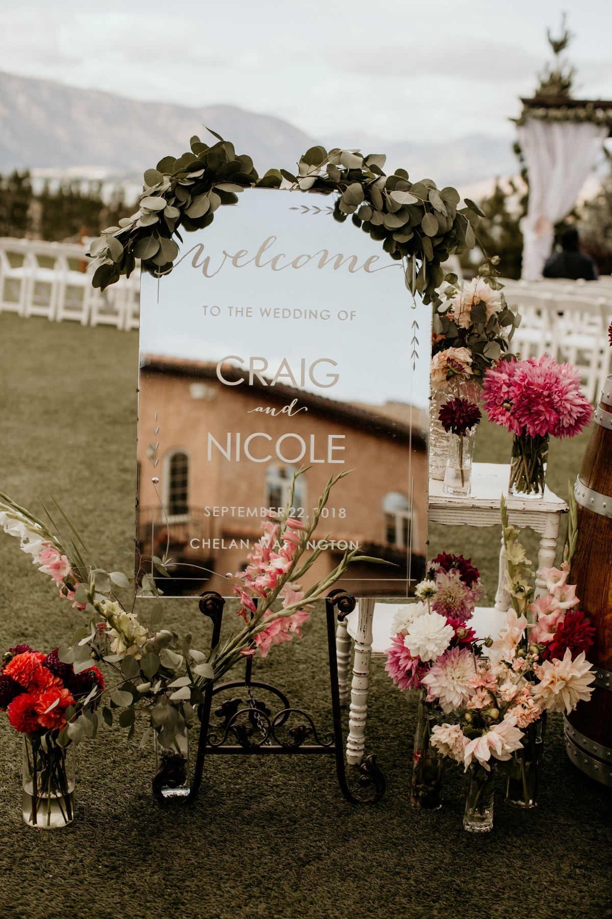 Welcome wedding sign mirror