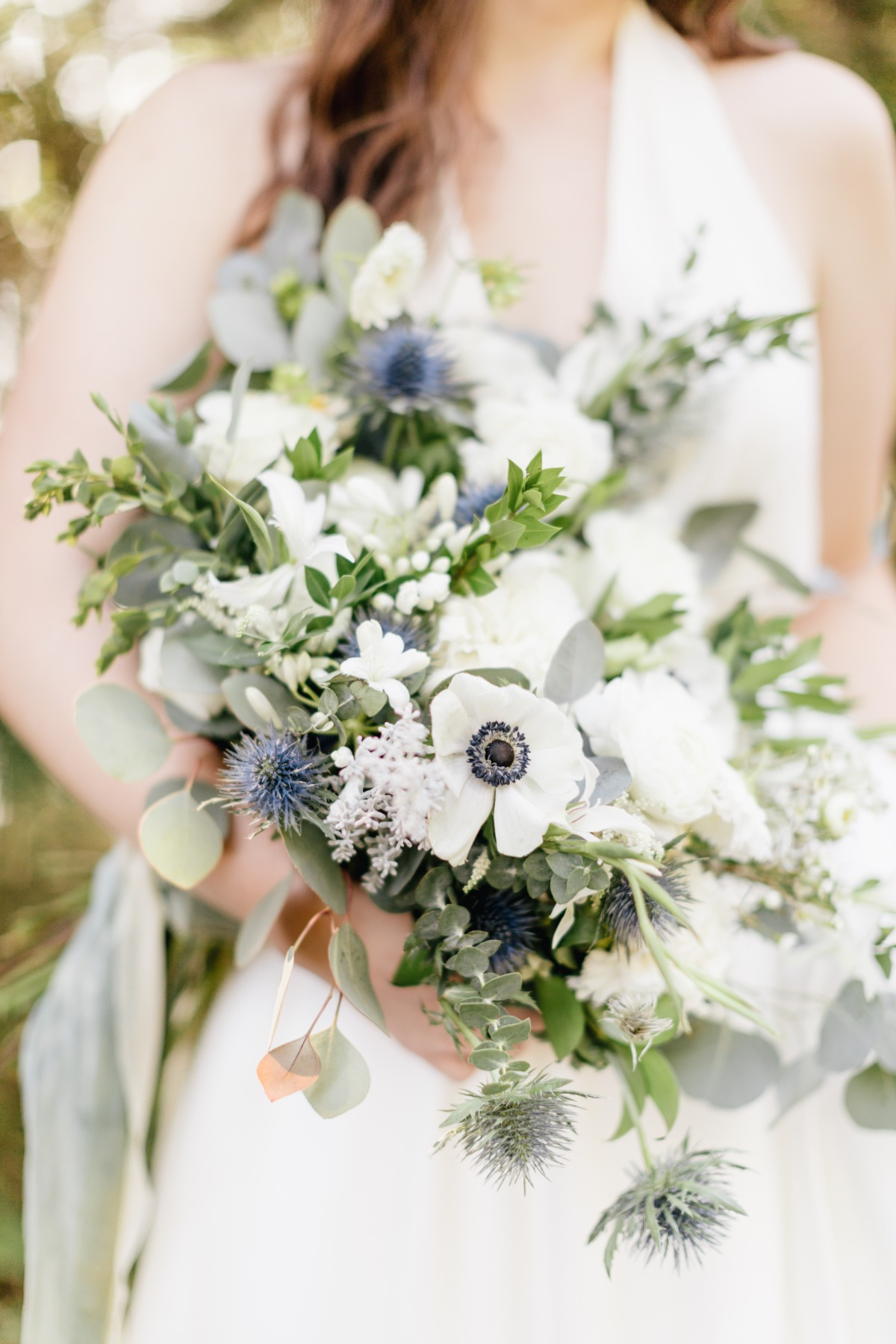 Blue, white, and green wedding bouquet