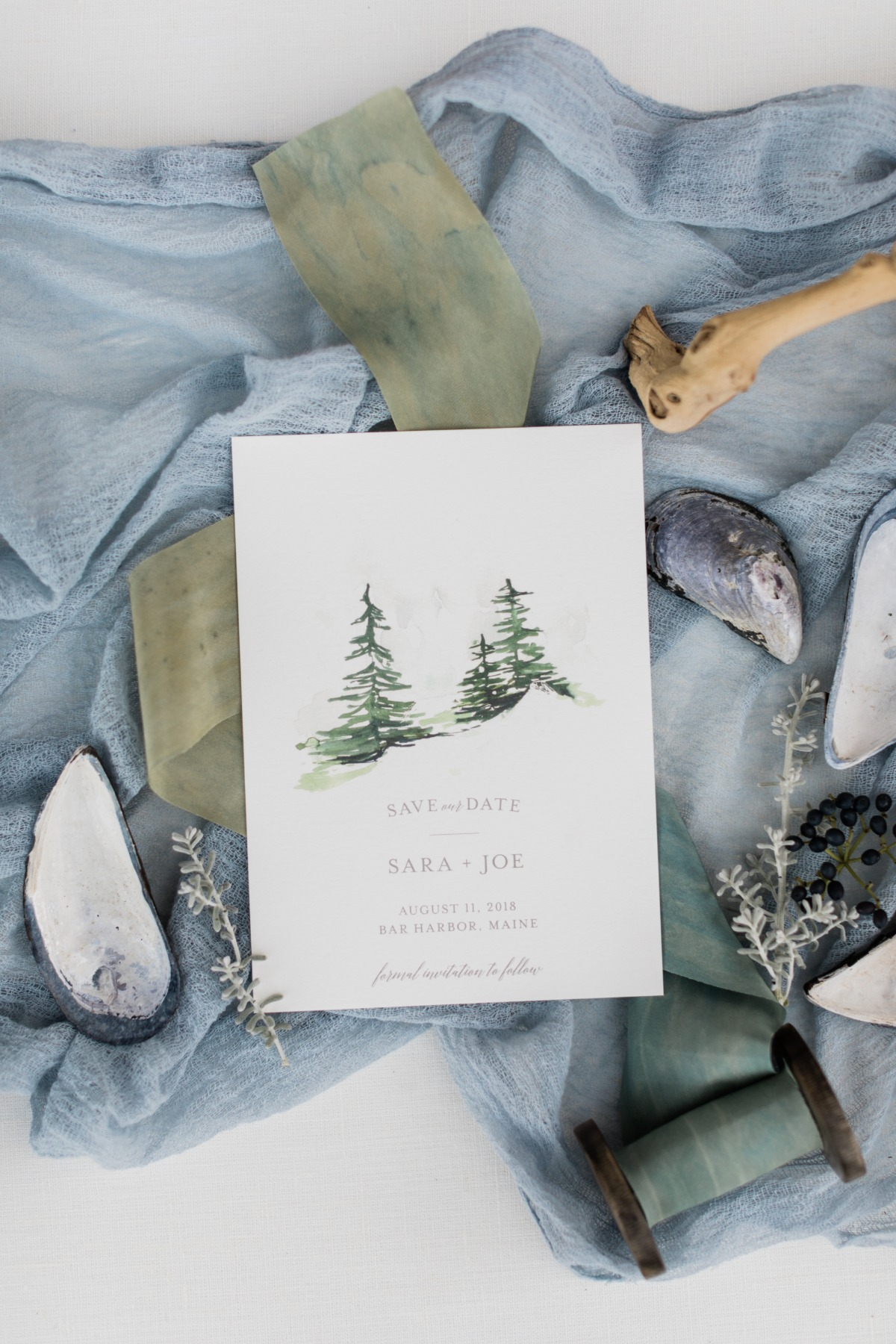 Watercolor pines Save the date