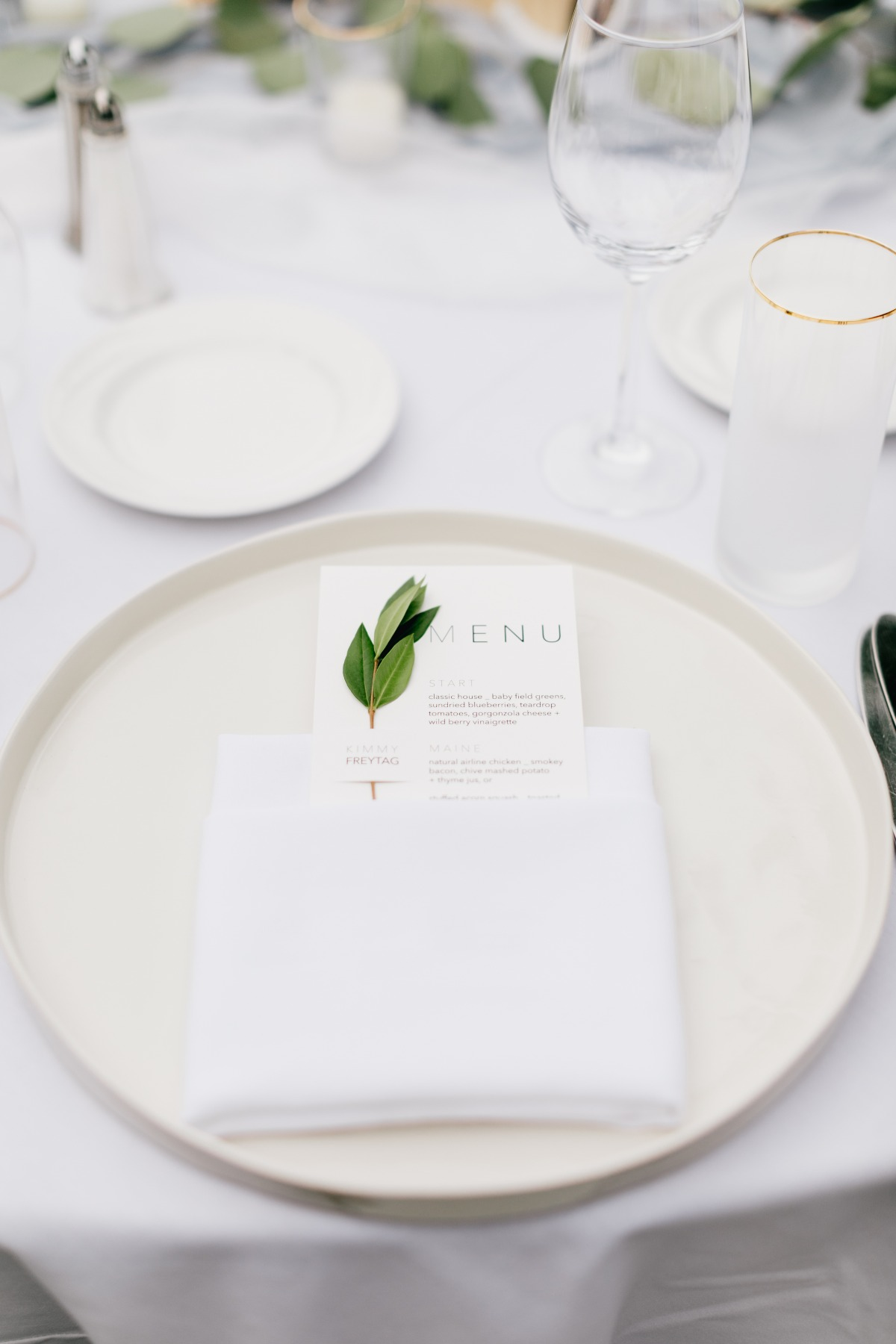 Simple wedding menu design