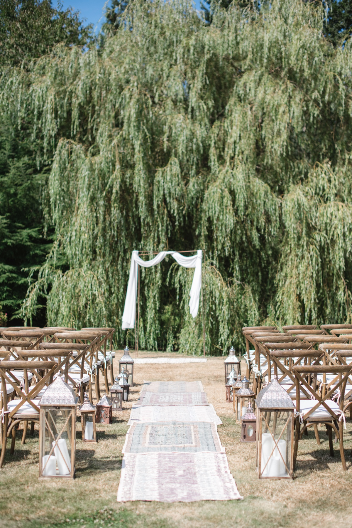 Vintage Persian rug ceremony aisle