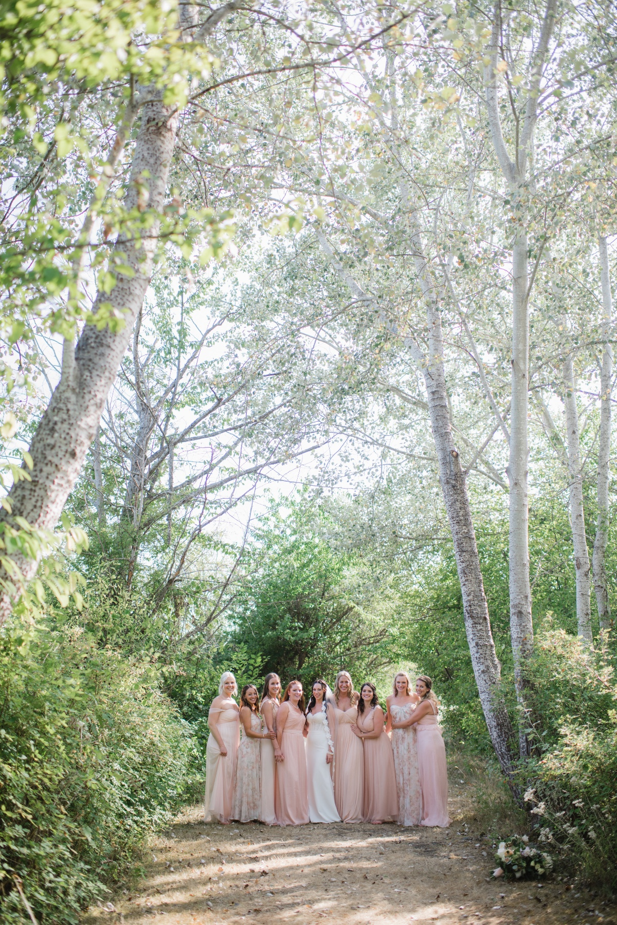 Bridesmaids in the woods