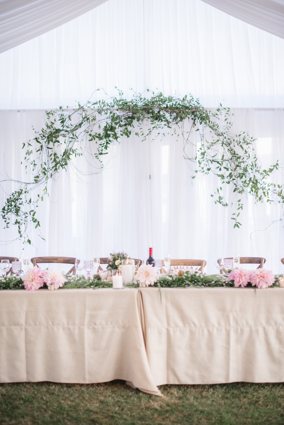 Greenery over head table