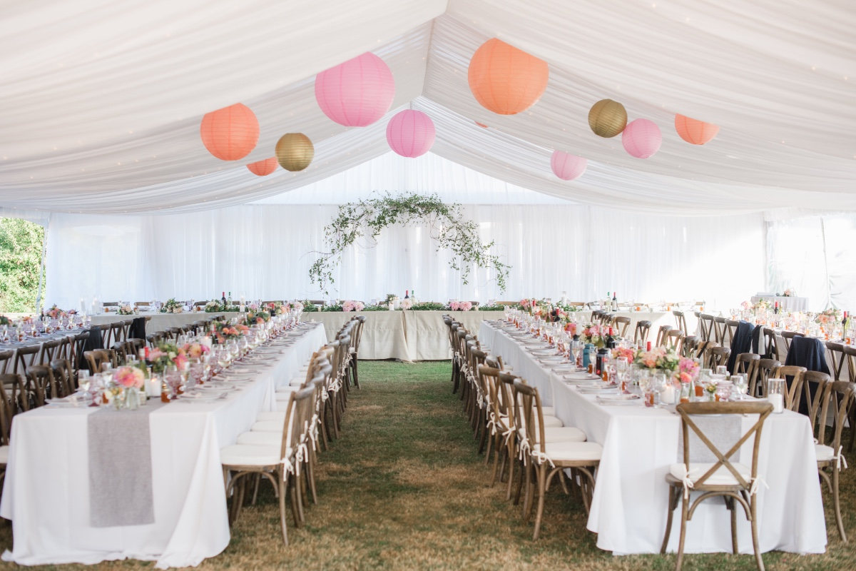 Tented reception with lanterns