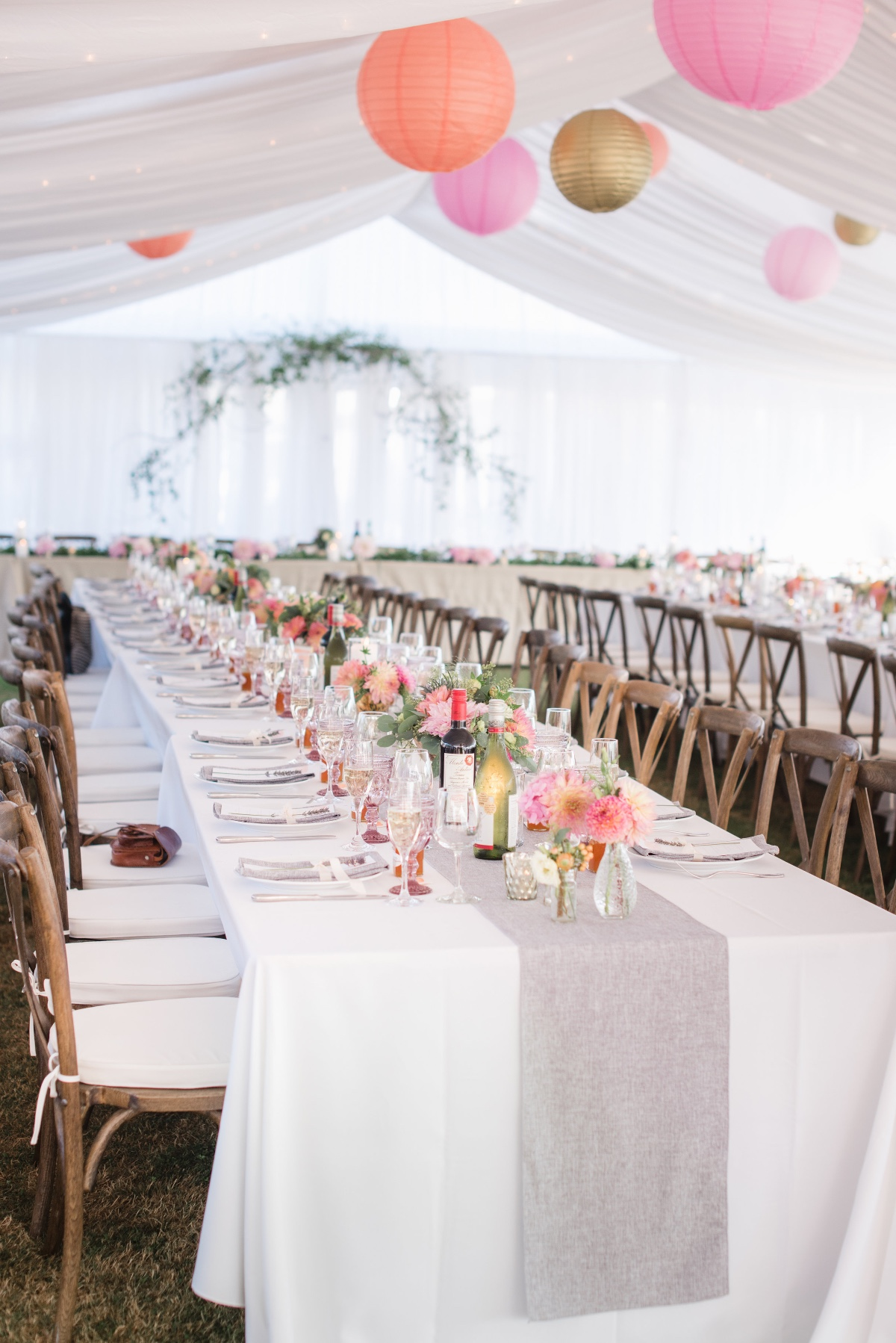 Colorful bohemian tent reception