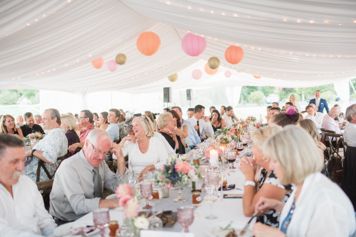 Colorful tent reception