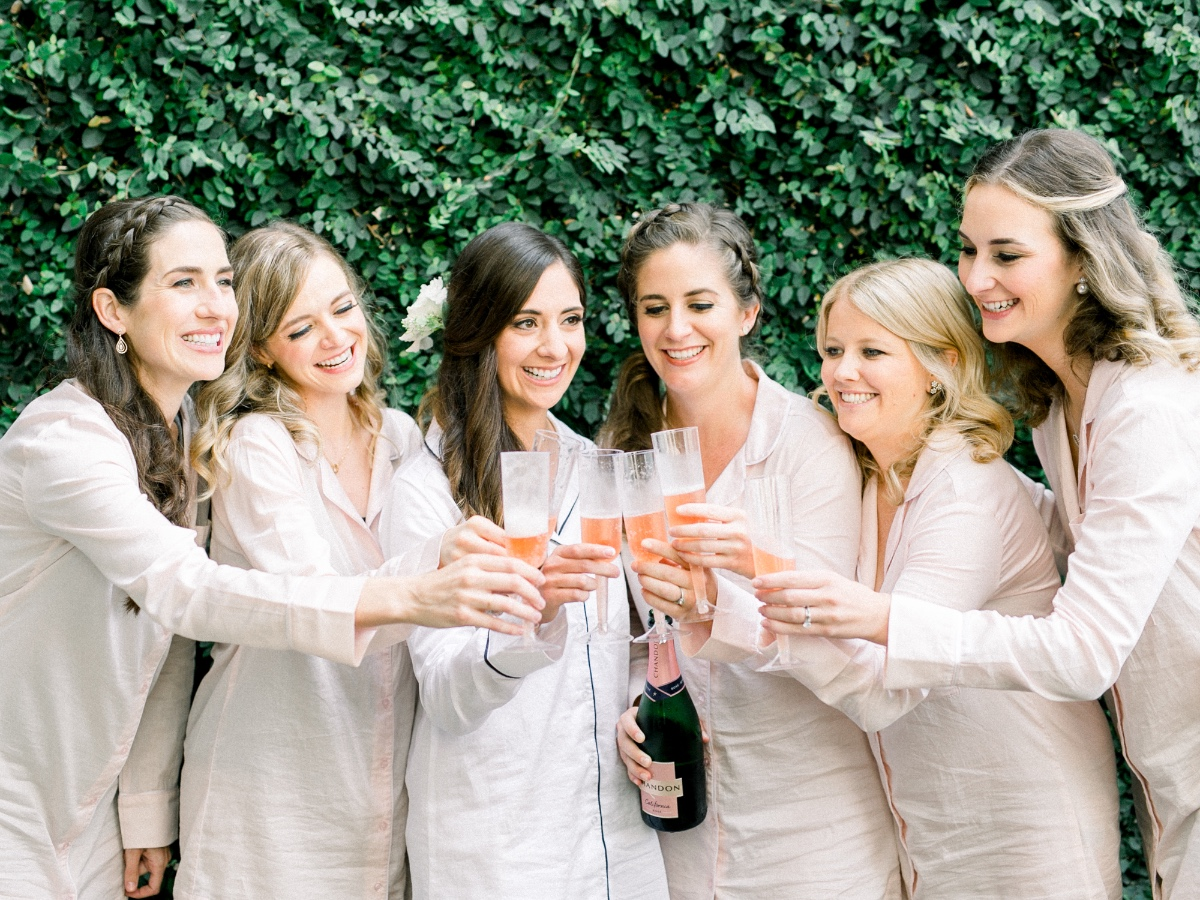 Getting ready bridesmaid toast