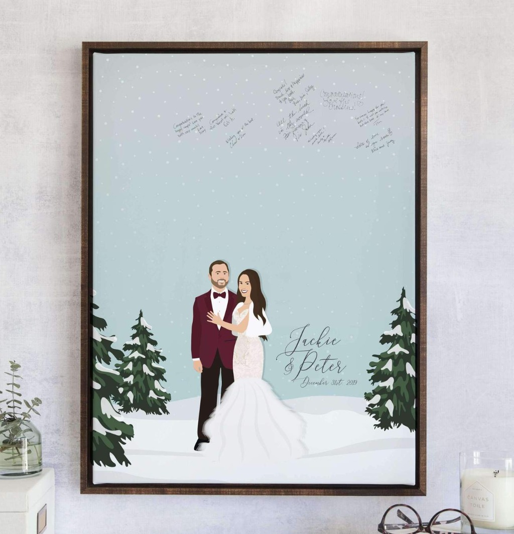 It's beginning to look a lot like...your Christmas wedding!! This Winter Wedding Guest Book Alternative with Snowy Portrait from Miss