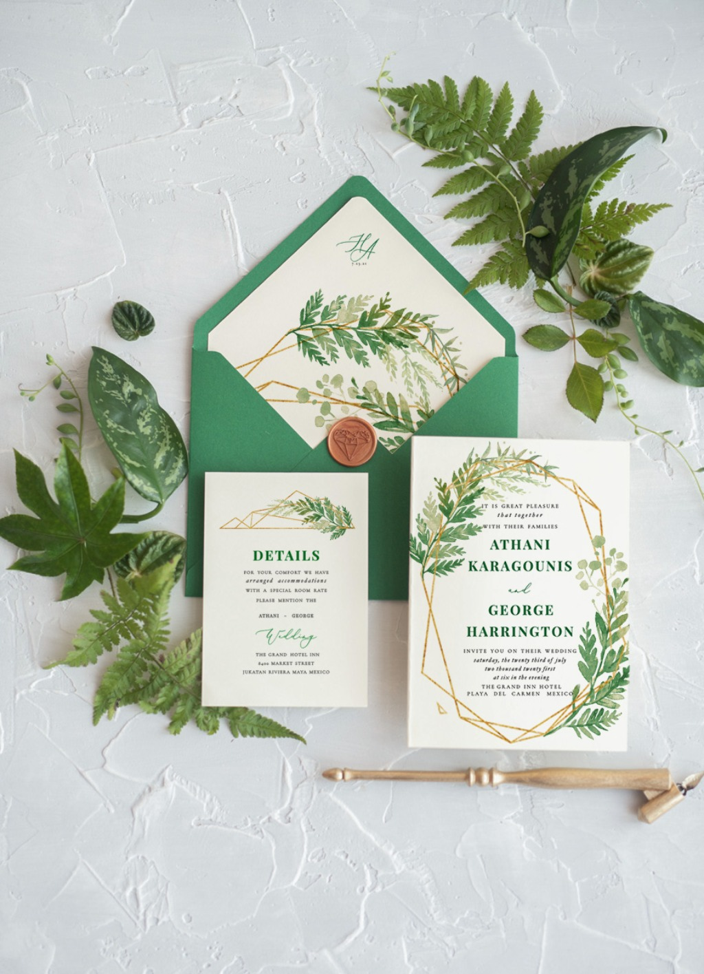 Wedding invitations with geometric details and fern