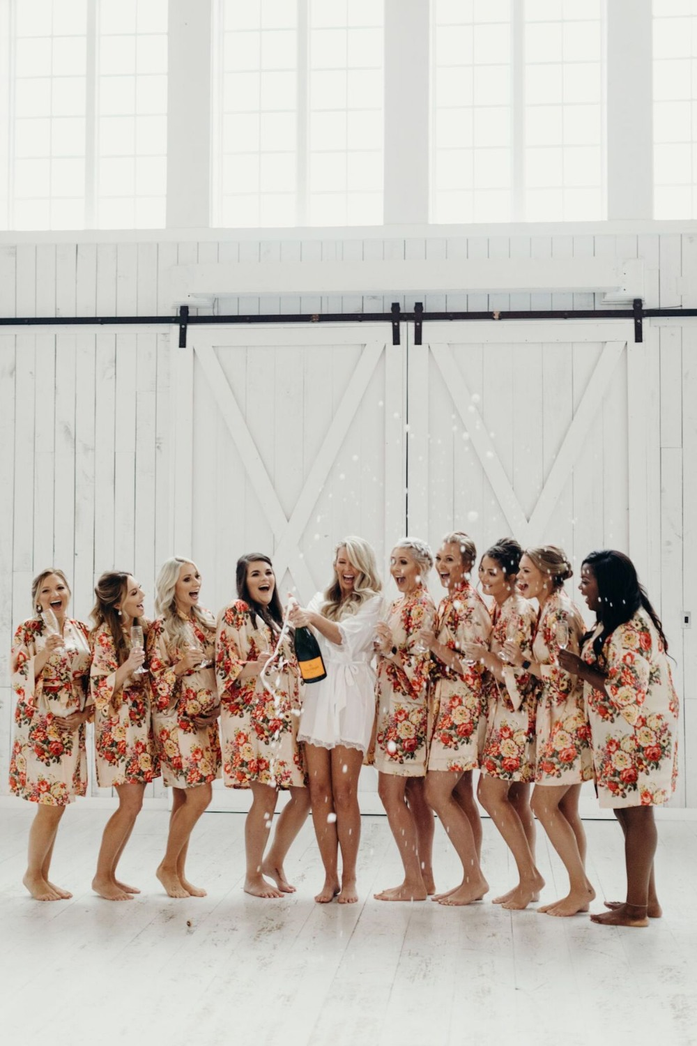 Champagne toast bridesmaids