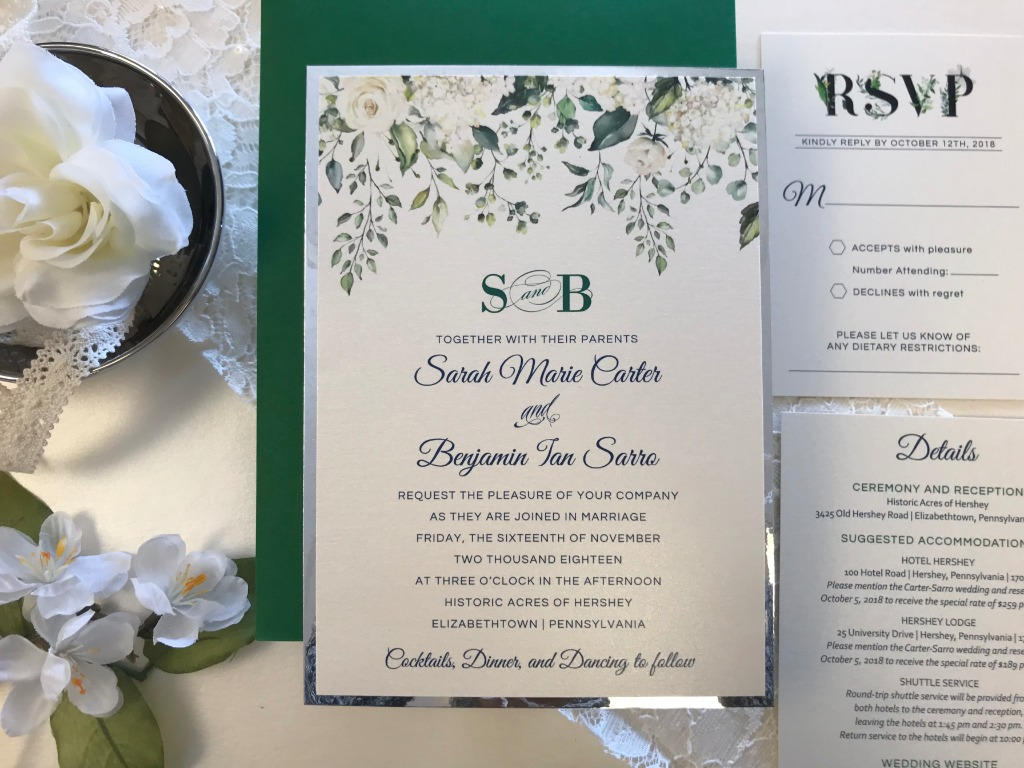 Gorgeous foils and florals in this green and white custom invitation suite by Persnickety Invitation Studio