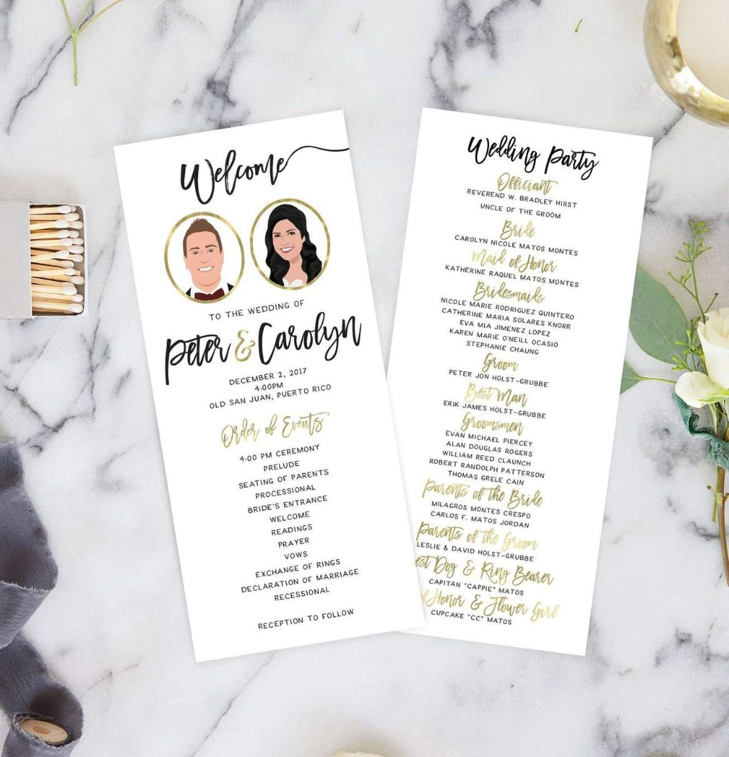 We LOVE programs, and you should too! These Wedding Ceremony Programs with Portraits from Miss Design Berry features your couple portrait