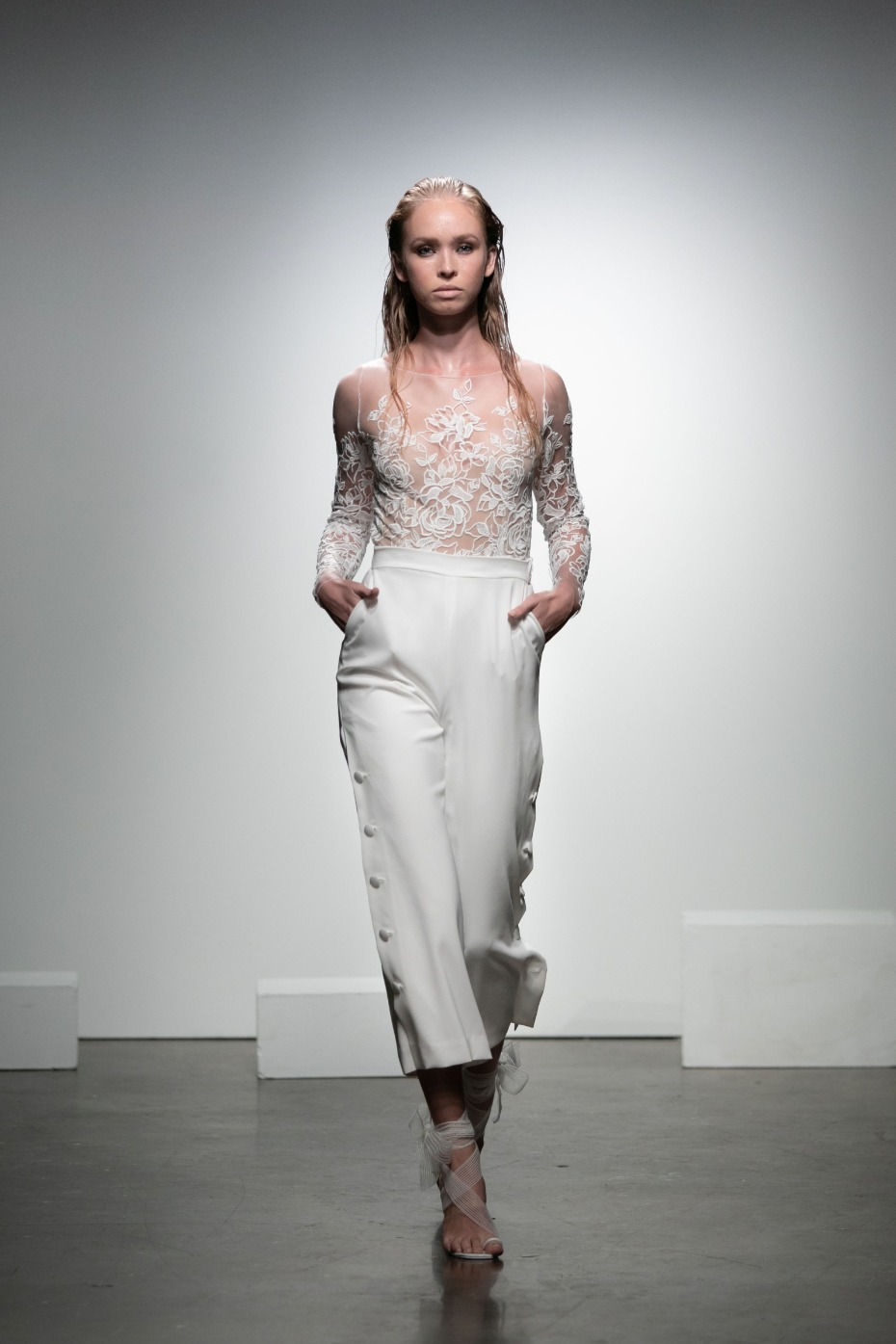 Rime Arodaky Pants and Embroidered Tulle Top