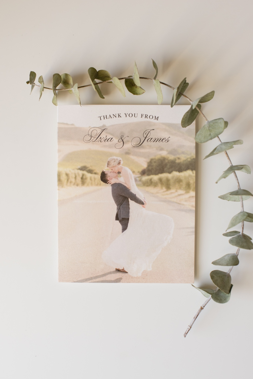 Thank your friends and family with a beautiful Timeless Script Thank you card to bring your wedding suite full circle!
