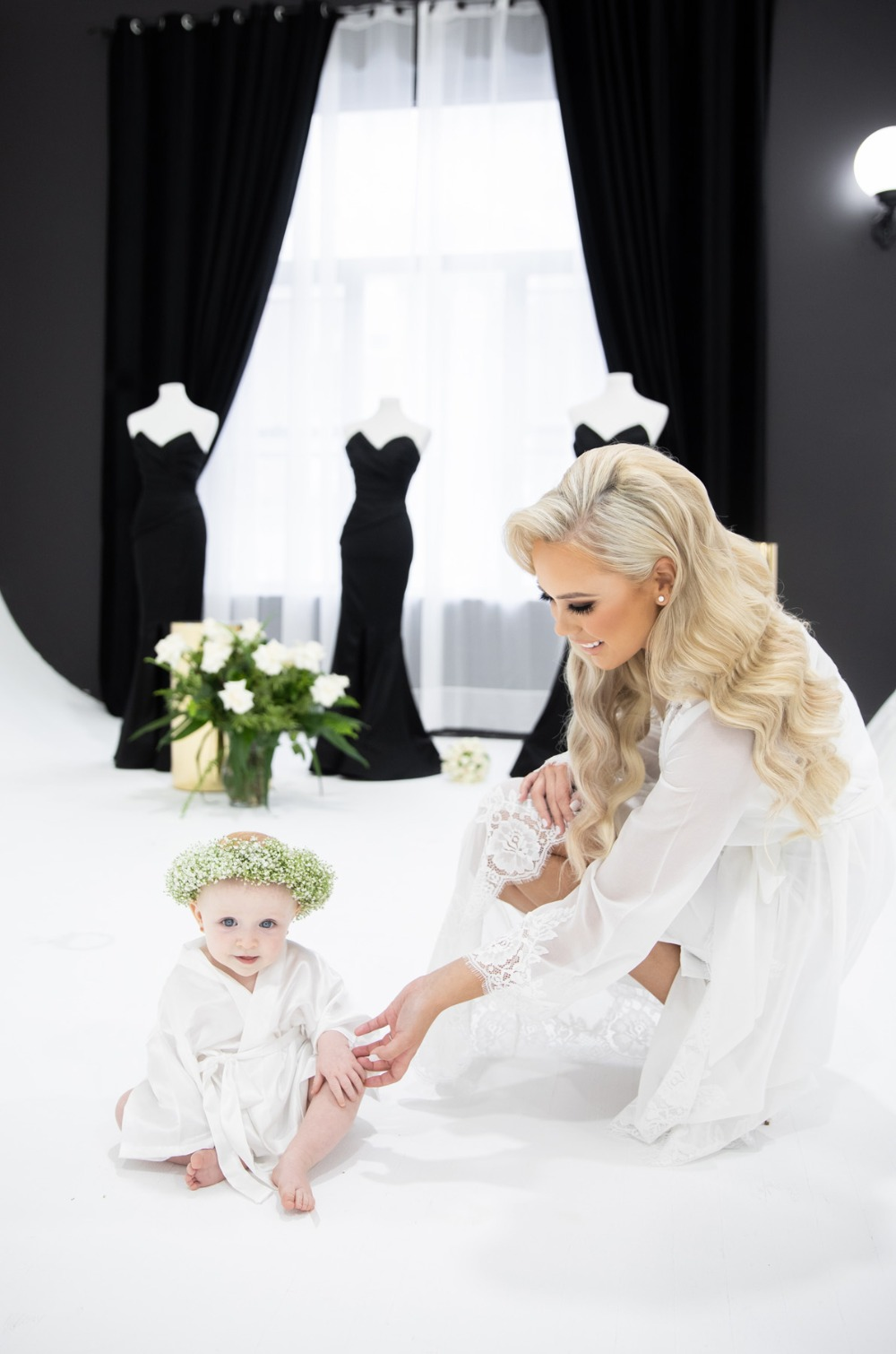 bride and baby flower girl
