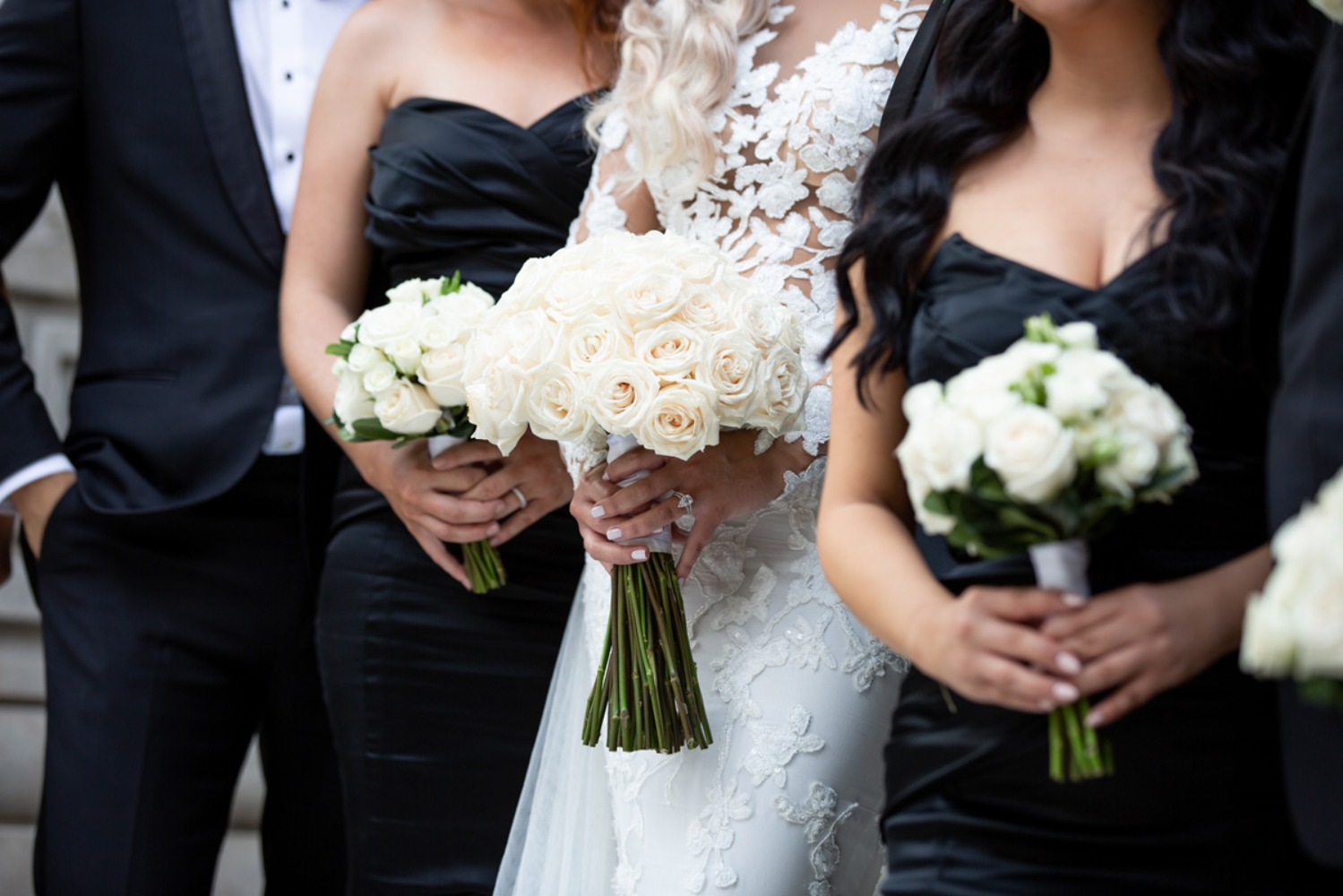 all white wedding bouquets