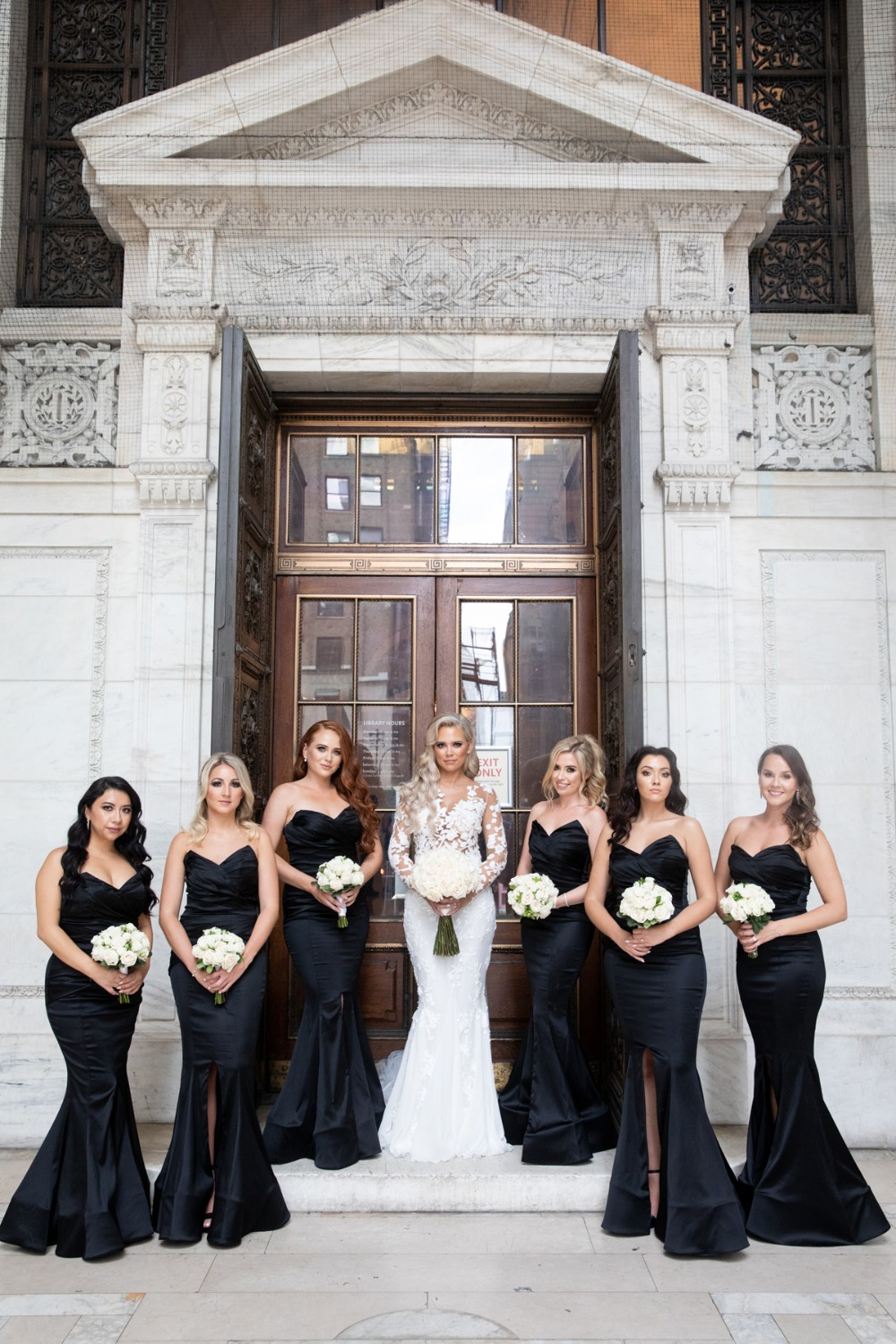 bridesmaids in floor length dresses