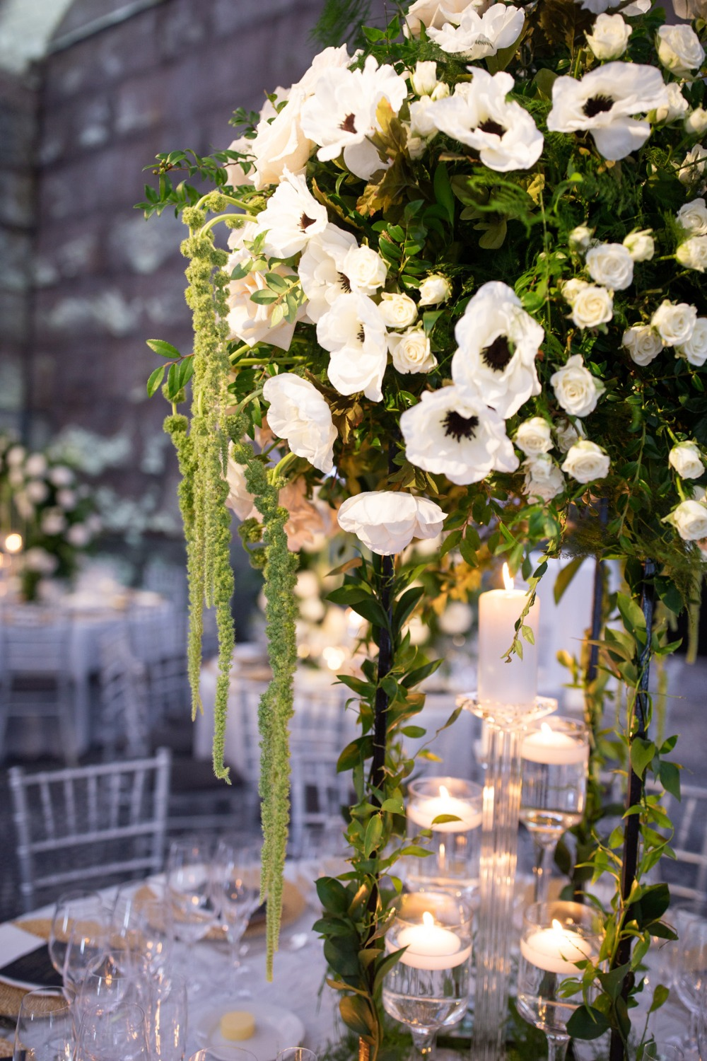 cascading wedding florals
