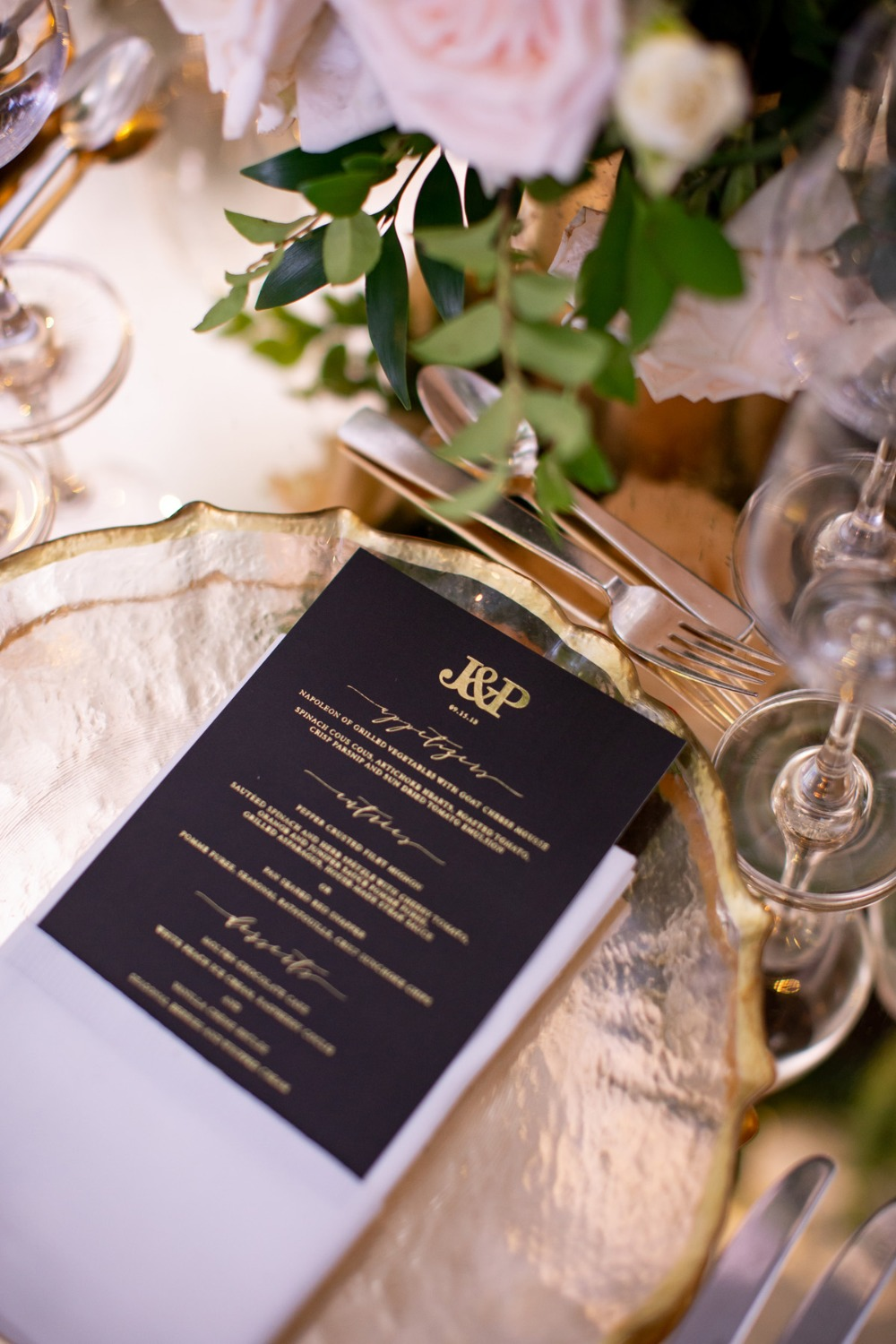 black and gold wedding menu