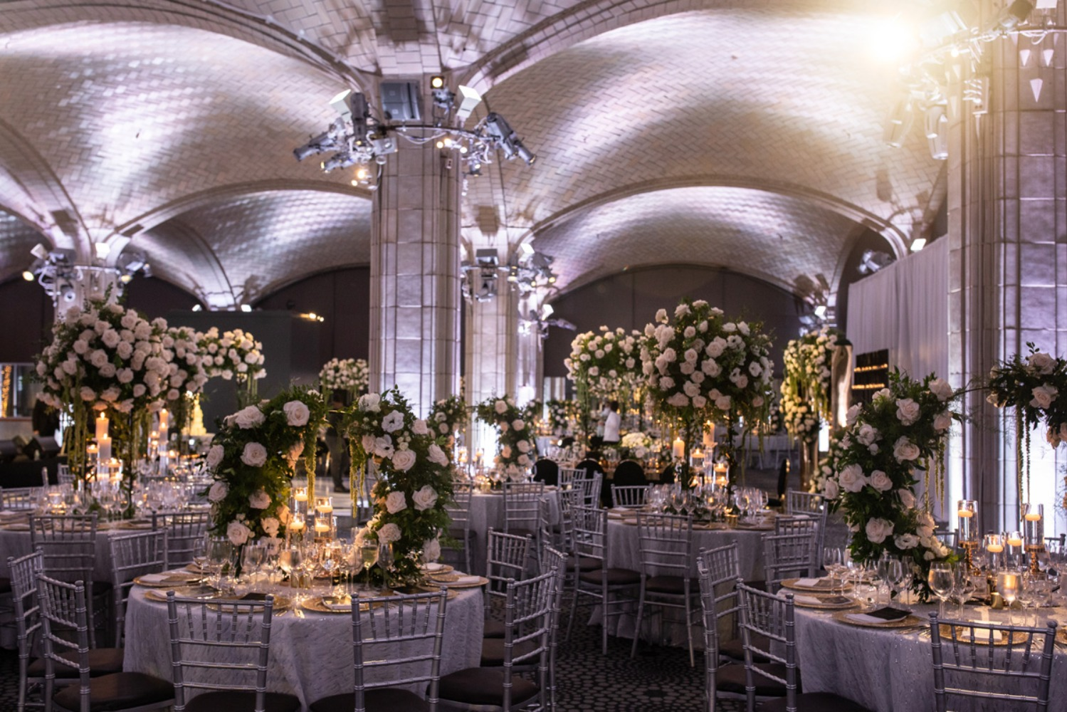 glamorous and dramatic wedding reception