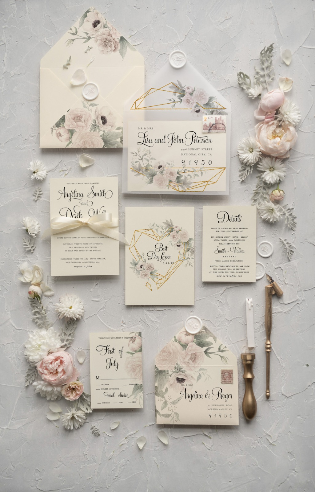 Wedding invitations with white flowers
