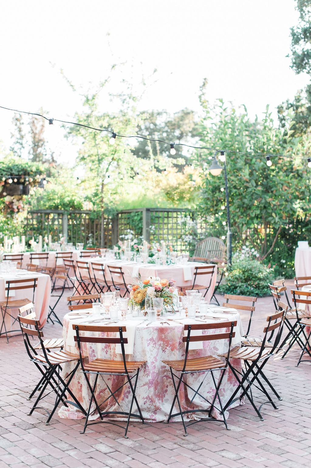 Wedding reception at Los Altos History Museum. Peach, Copper, Olive. Mix of rounds and queens. Fall wedding inspiration.