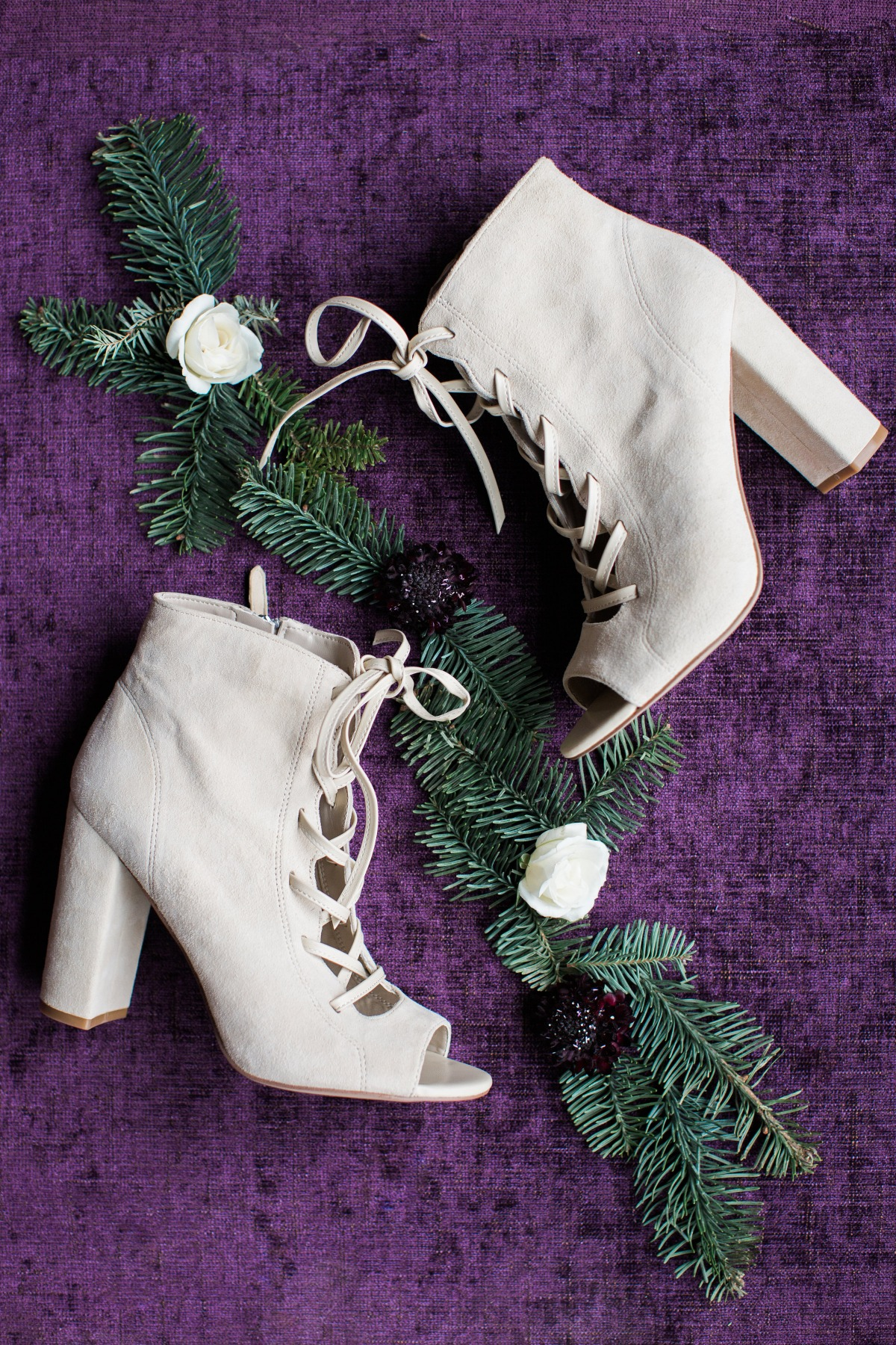 Boho winter wedding booties