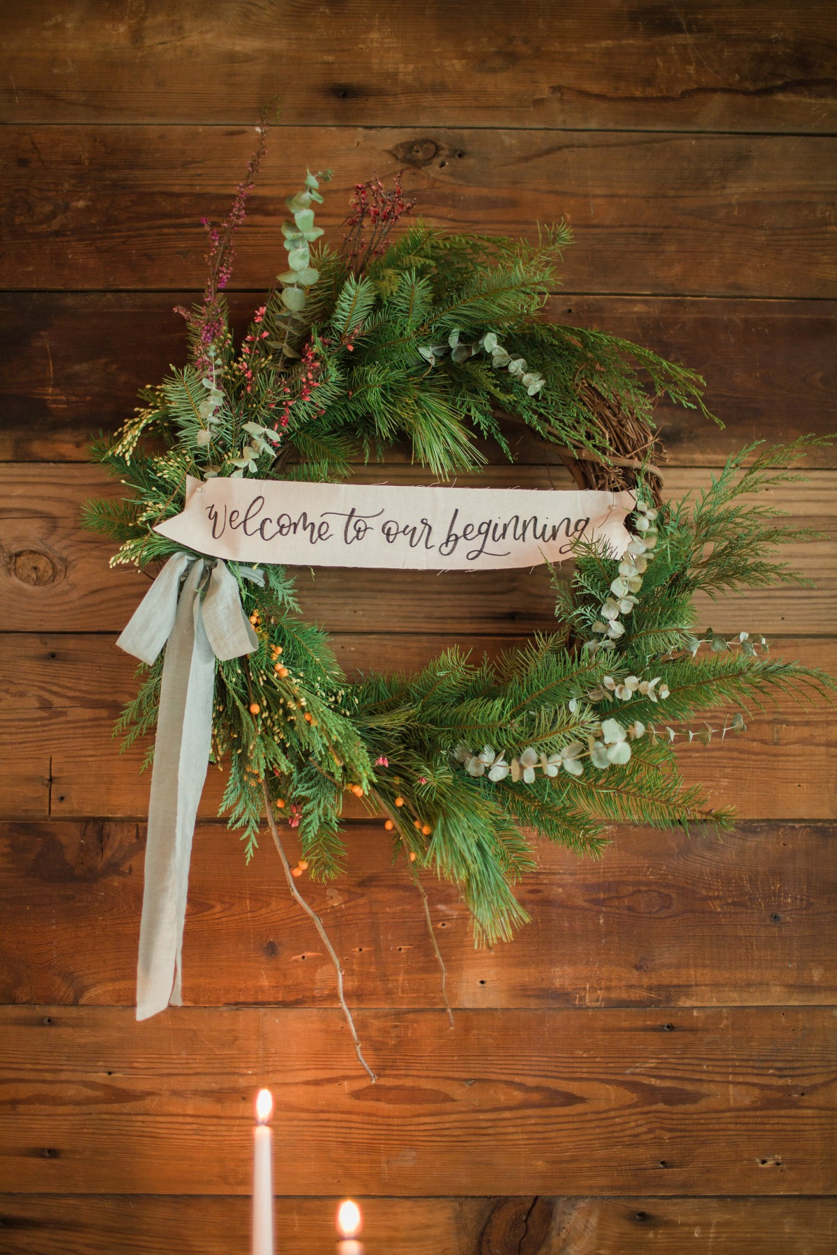 Winter wedding welcome wreath