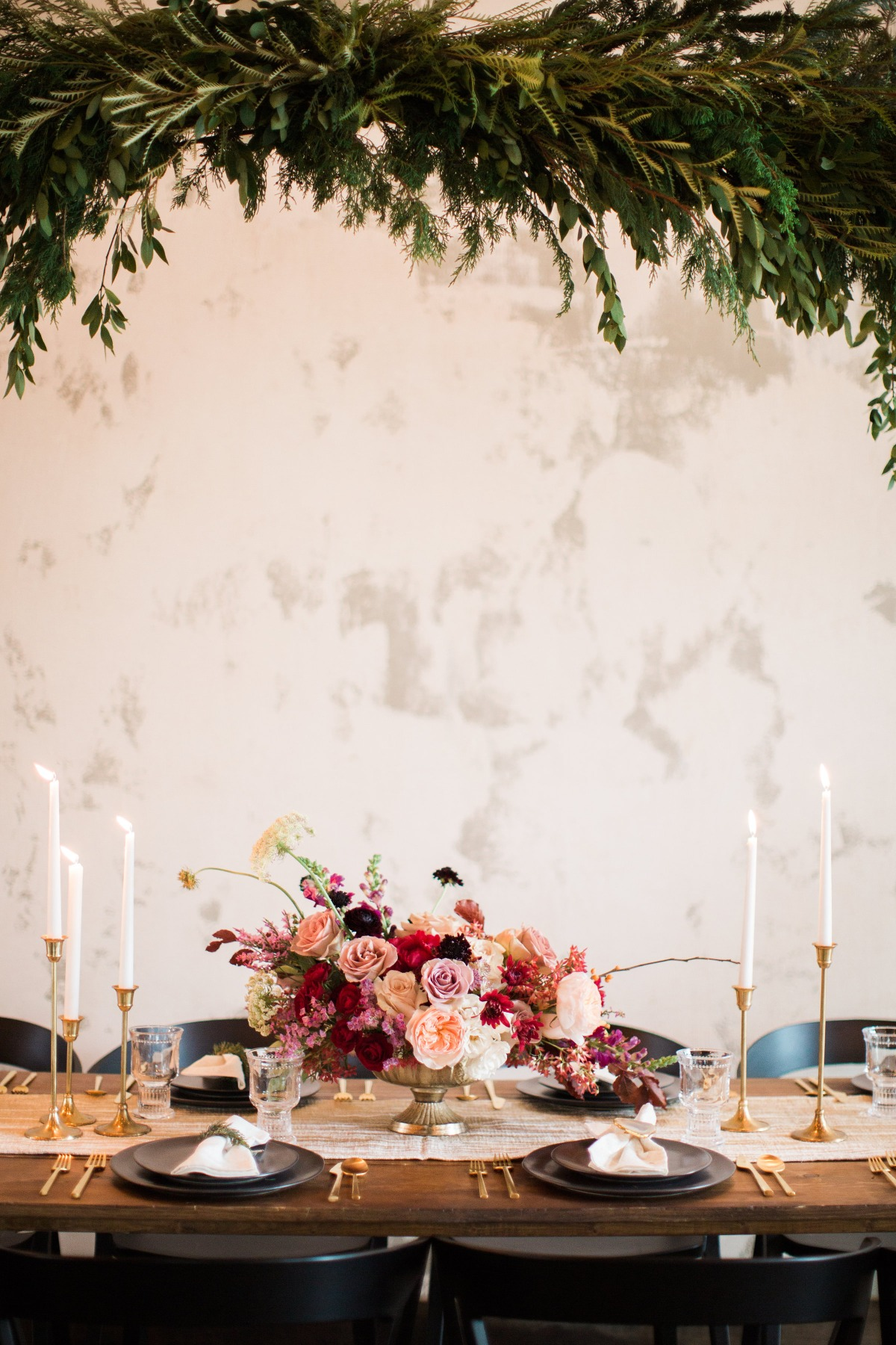 Blush and red wedding centerpiece