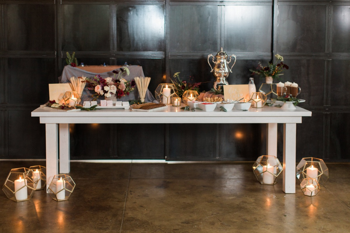 Hot cocoa bar for a winter wedding
