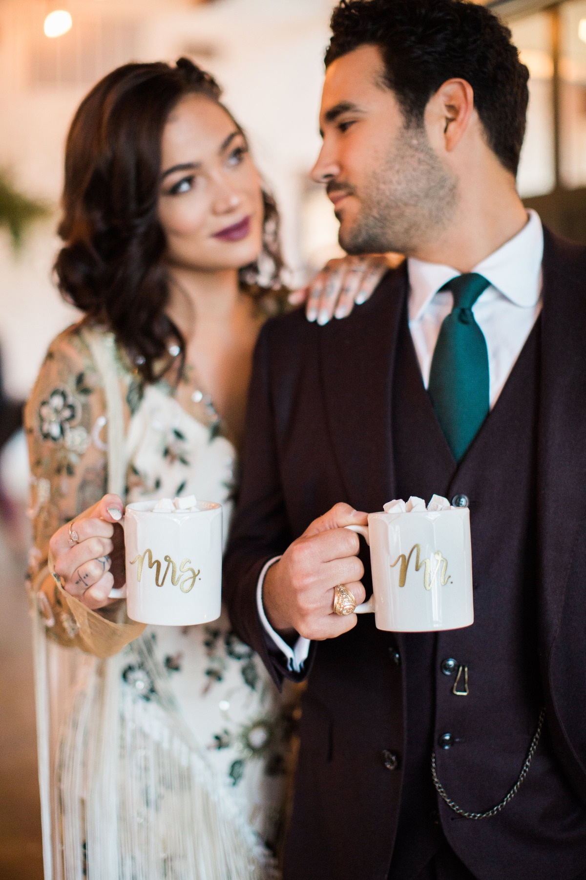 Mr and Mrs coffee cups for hot cocoa