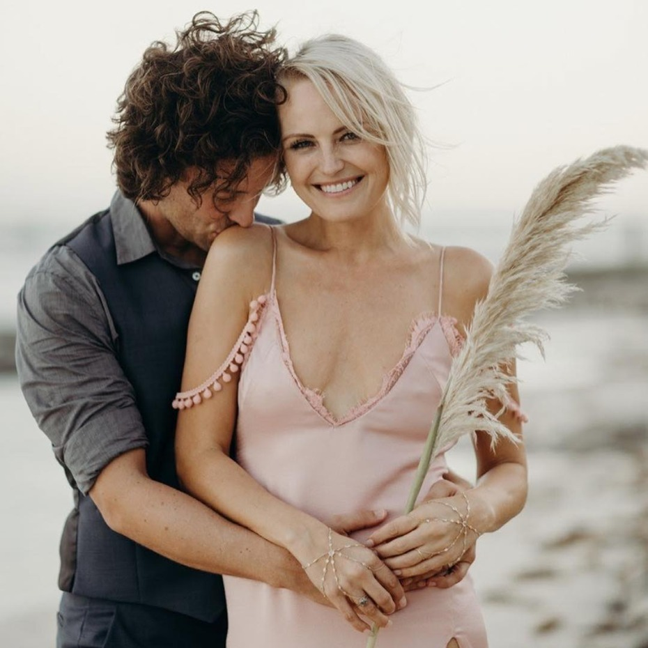 Malin Akerman Mexico Wedding Pink Slip Dress