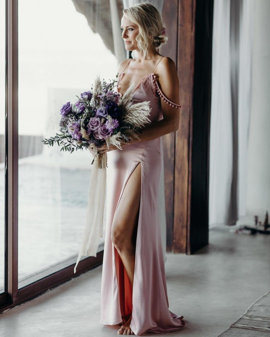 Malin Akerman In Custom Cushnie Pink Wedding Gown