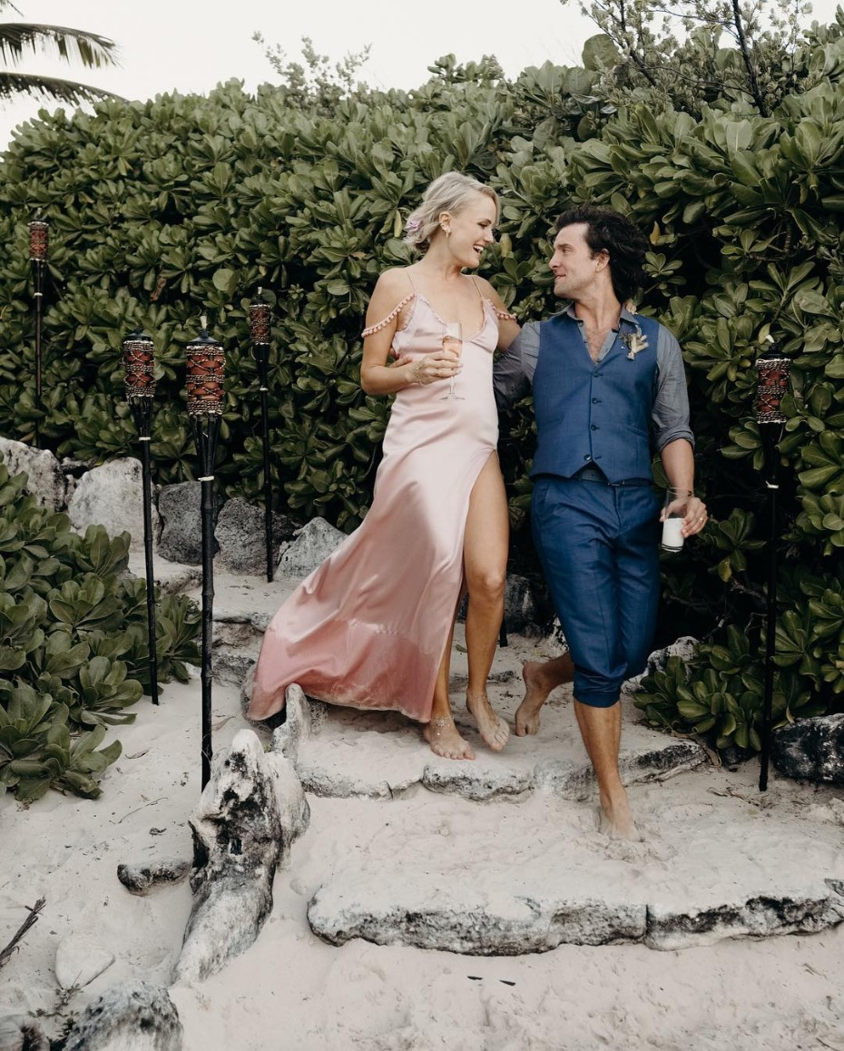 Malin Akerman Wedding in Mexico Wearing Custom Cushnie
