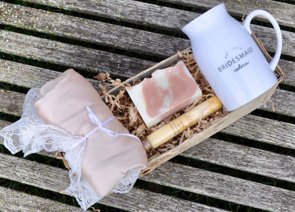 Beautiful bridesmaid gift baskets, personalized with silk shorties, bath salts and signature soap. Only at Inkt and co