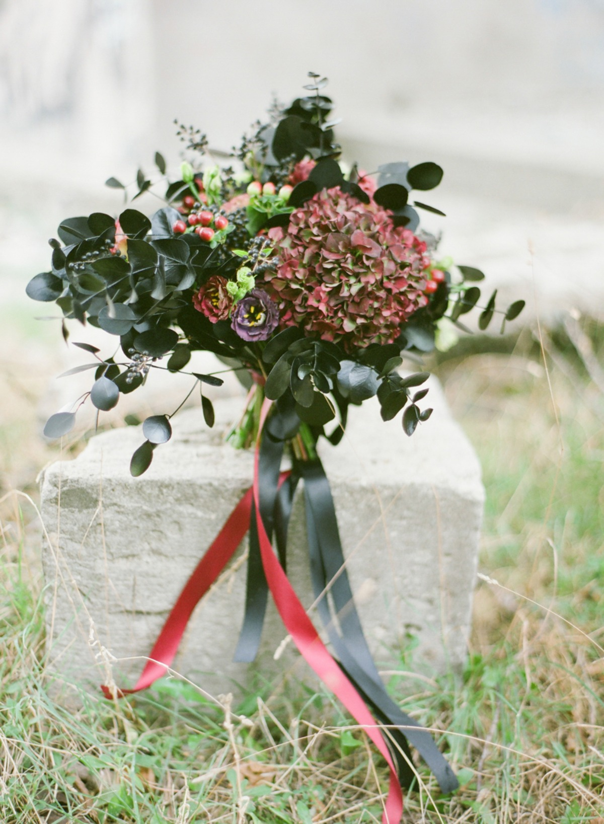 dark red and black wedding bouquet