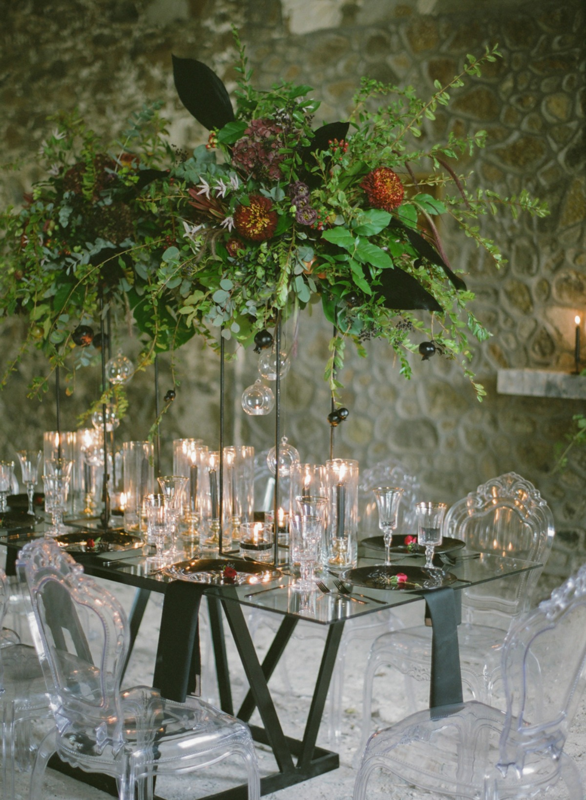 candle lit romantic wedding table decor for the winter